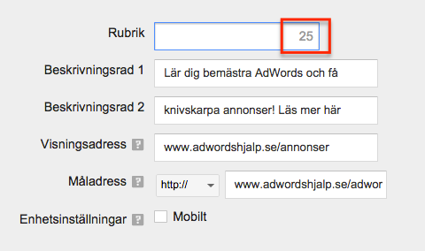 adwords rubrik tecken